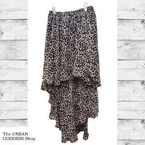 Dex Leopard High Low Skirt sz XS